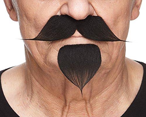 Spitzbart Kostüm Schwarzer - Mustaches Selbstklebende Neuheit Fälscher Lenker mit Einem Ziegenbart für Erwachsene Schwarz Farbe
