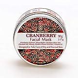 Gesichtsmaske, vegan - Anti Pickel, Mitesser Maske und gegen Akne - Anti-Aging Pflege für trockene und unreine Haut - für Gesicht und Körper, 90 g Facial Mask (Cranberry)
