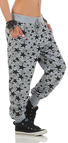 malito Damen Sweathose mit Star Print   Baggy zum Tanzen   Jogginghose mit Knopfleiste   Sweatpants �?Trainingshose 8020 Hellgrau