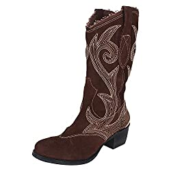 Guava Embroided Leather Boots - Brown