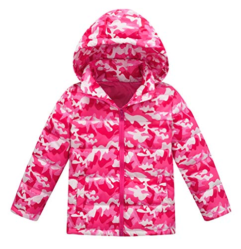Happy cherry - Chaqueta de Plumón con Capucha para Niños Niñas Invierno con Estampado Camuflaje Abrigo de Plumas Ligero Impermeable Cómodo - 6-7 Años
