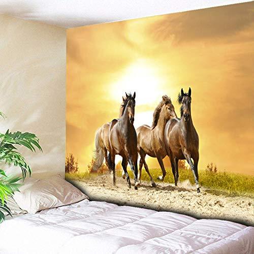 xqwzm Psychedelic Sunlight Wandbehang Tiere Wandteppich DREI Pferde Laufen Kunst Teppich Für Zuhause Schlafzimmer Boho Dekoration Tapisserien @ 200X150 cm -