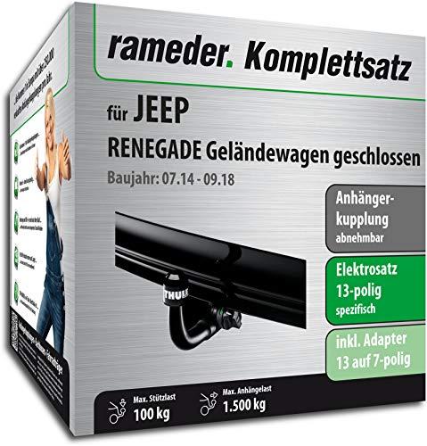 Rameder Komplettsatz, Anhängerkupplung abnehmbar + 13pol Elektrik für Jeep Renegade Geländewagen geschlossen (148481-13019-1)