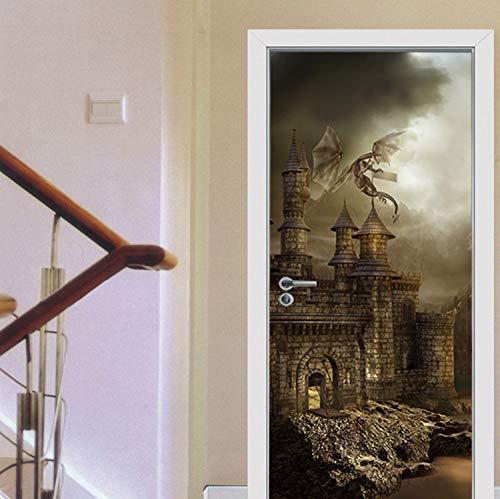 Türaufkleber Drache, Der Auf Retro Europeon Schloss-Tür-Aufkleber Für Wohnzimmer-Schlafzimmer-Korridor-Vinylkleber-Tapeten-Geschenke Für Kinder Fliegt