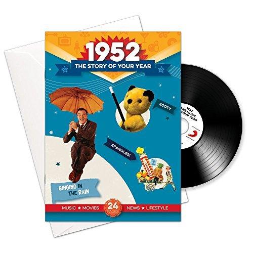 1952 cumpleaños o aniversario regalos - 1952 4-en-1 tarjeta y regalo - Historia de su Año, CD, Music Download - 15 Gráfico originales Canciones - Presente Retro Para Hombres y Mujeres