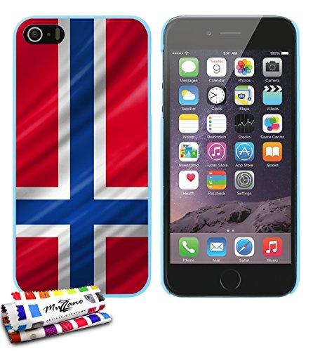 Ultraflache weiche Schutzhülle APPLE IPHONE 5S / IPHONE SE [Norwegen Flagge] [Schwarz] von MUZZANO + STIFT und MICROFASERTUCH MUZZANO® GRATIS - Das ULTIMATIVE, ELEGANTE UND LANGLEBIGE Schutz-Case für  Lagunenblau