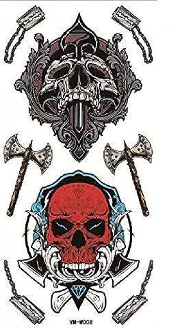 GGSELL Dernières vente chaud et à la mode conception Terrible têtes de crâne avec une hache autocollants de tatouage