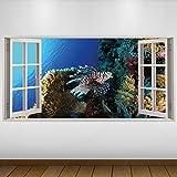 LagunaProject EXTRA GROßE Braunen Fisch Corel Tierwelt 3D Vinyl Sticker Poster Wandsticker Wandtattoo Wandbild Wanddeko -140cm x 70cm