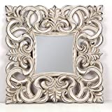 -Espejo Fabricado en España y Decorado a Mano- Medida Exterior 78x78 cm, Medida de Espejo 33x33 cm. Espejo Decorativo de Pared Modelo Murillo (Piedra Tabaco)