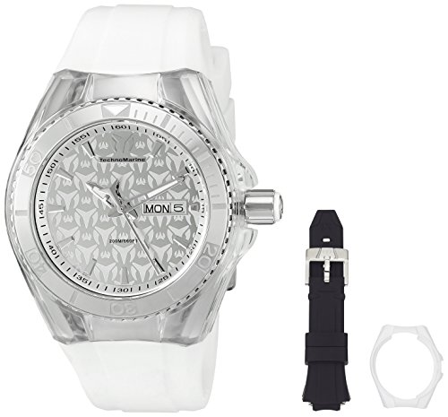 Technomarine Unisex 40mm Bracelet Silicone Blanc Boitier Acier Inoxydable Quartz Analogique Montre 115060