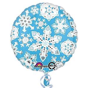Amscan International 3153301 - Globos de Papel de Aluminio, diseño de Copos de Nieve, Color Azul y Blanco (estándar)
