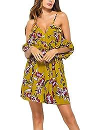 Vestiti Donna Estivi Eleganti Corti Vintage Stampa Fiore Abito da Spiaggia  V Scollo Sling Senza Spalline Manica… 4d6c54fb3ea