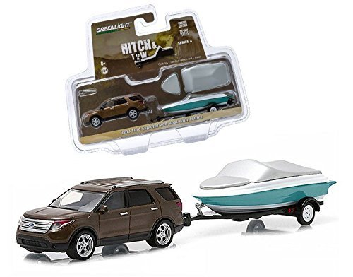 new-164-hitch-tow-series-4-brown-2013-ford-explorer-and-boat-with-trailer-diecast-model-car-by-green