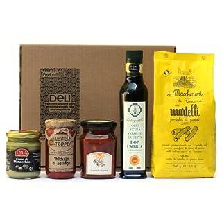 ITALIENISCHER DELIKATESSENKORB n°4 (TOSKANISCHE MACARONI, NORMA SAUCE, EXTRA NATIVES OLIVENÖL, SÜSSE PISTAZIENCREME) Gourmet Geschenkkorb aus Italien - Italienische Spezialitäten und Feinkost - Premium Präsentkörbe
