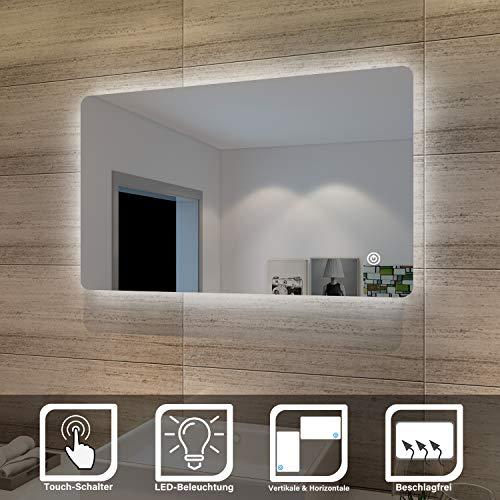 SONNI Badspiegel Lichtspiegel LED Spiegel Wandspiegel mit Sensor-Schalter 100 x 60cm kaltweiß IP44 energiesparend