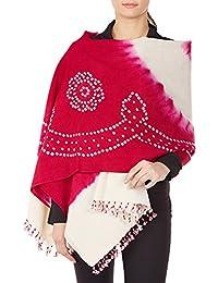 Rouge-Violet crème Châle pour les femmes, Cadeaux laine Tie-Dye à la main pour Sa 36x80 pouces