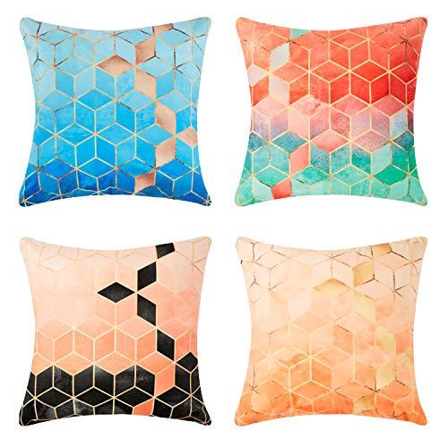 4 Stück Outdoor Sofa (Top Finel Geometrie Dekorative Überwurf-Kissenbezüge Weiche Microfaser Outdoor Bunte Kissenbezüge 20x20 für Sofa Schlafzimmer 50x50 cm 4 Stück)