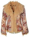 Einstein Damen Brokat Jacke Kurzmantel Mantel mit Zierfell Kupfer XS