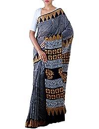 Unnati Silks Women Black Pure Rajasthani Malmal Cotton Jaipuri Printed Saree(UNM21839)