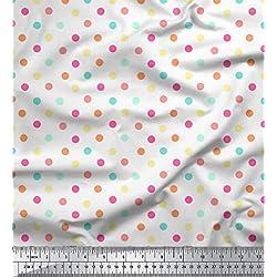 Soimoi Arte de Costura 58 Pulgadas de Ancho de impresión del Lunar popelín de algodón Tela de Suministro por Metros - Blanco