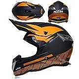 Carbon Motorradhelm,Erwachsener Offroad Vollgesichtsschutz Motocross Motorradhelm DreiunddreißIg Farben Zur Auswahl Von S-XL