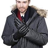 YISEVEN Herren Touchscreen Lammfell Lederhandschuhe lang Manschette mit Warm Gefüttert Elegant Winter Leder Autofahrer-Handschuhe, Schwarz XXL/10.5