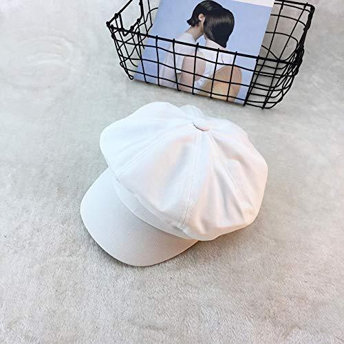 Weibliche Kappe Männliche Sommer-Achtkantige Kappe Englands Retro- Newspaperboy-Hut-Barett im Freien Hut (Farbe : Weiß)
