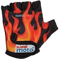 KIDDIMOTO - Guantes de Bicicleta y Deporte para niños, diseño de Llamas, Color Naranja/Negro, Talla M (mas de 5 años)