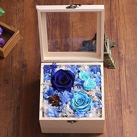 Bote En Bois,Rose éternelle Cadeau Jardinière/Fleurs D'anniversaire Fleurs Séchées/Ornements Décoratifs DIY/ Cadeau Créatif-A