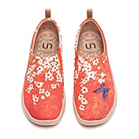 UIN Women's Walking Flats Travel Walking Slip On Loafers Lightweight Comfortable Casual Painted Canvas Sneakers Sakura (40)