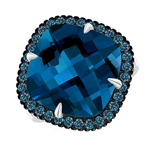 Angara.com - 14 Kt Weißgold Kissenschliff London Blue Topaz (Ring Topas In Weissgold London Blue)