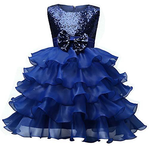 Chengzuoqing Prinzessin Kleider Mädchen Brautjungfer Kleid Pailletten Party Prom Geburtstag Kleid Kinder Kleidung Spitzenkleid Alter 3-8 Jahre Kleine Mädchen Kostüm (Color : Blue, Size : 120 cm)
