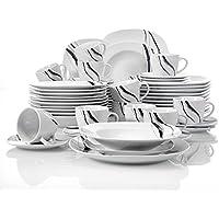 4bfc2f6e19f58b Veweet TERESA 60pcs Service de Table Porcelaine 12pcs Assiette Plate,  Assiette à Dessert, Assiette