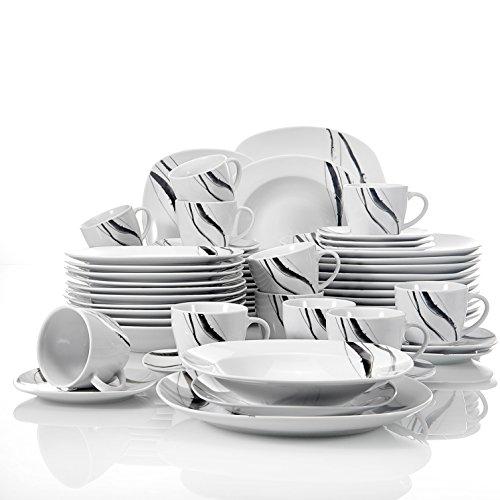 VEWEET Tafelservice 'Teresa' aus Porzellan 60 teilig | Kombiservice beinhatlet Kaffeetassen 175 ml, Untertasse, Dessertteller, Speiseteller und Suppenteller| Komplettservice für 12 Personen