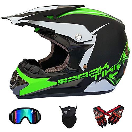 WanSheng Motocross-Helm für Erwachsene MX-Motorrad-Helm-Roller ATV-Helm-Straßenrennen D.O.T Zertifiziert Fox blau mit Handschuhen, Winddichte Schutzbrille (S, M, L, XL),S55~56CM