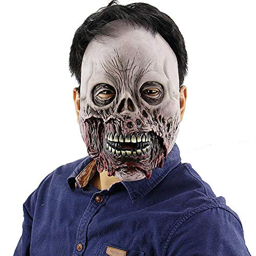 Dodom Halloween Horror Rotten Zombie Face Schädel Maske Scary Haunted House Escape Latex Masken (Spiel Haunted Halloween Escape)