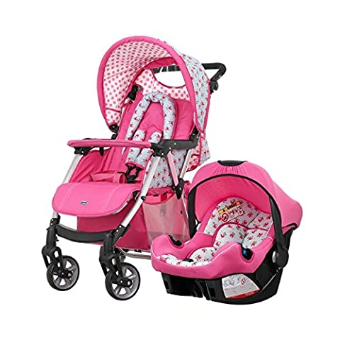OBABY HERA STROLLER COTTAGE OF ROSE - RASPBERRY PINK COMPLETE WITH CAR SEAT (From birth to 15kg)