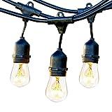 Lichterkette Außen mit 9 E27 Fassungen, ECOWHO Wasserdicht LED Lichterkette Set, Dekolampe für Ihnen/Aussen, Party, Hochzeit, Weihnachten, Feier, Hof, Biergarten (keine Leuchtmittel enthalten)