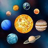 E-More Planeta Resplandor en la Oscuridad Etiquetas engomadas de la Pared y del Techo, Luz de la Noche Luminosa Etiqueta de la Pared Etiquetas del Sistema Solar, Dormitorio para niños y niñas