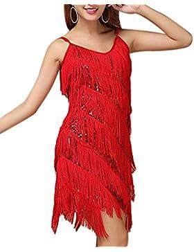 Donne Eleganti Art Deco Paillettes Nappa Vestito Abbigliamento Per La Danza Latino Rosso