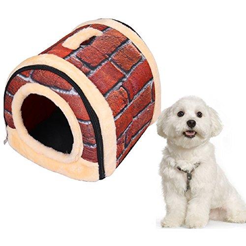 2-in-1 PET House & Sofa Caldo e accogliente peluche cane del gatto / gattino Letto pieghevole Indoor Pet Kennel - 2 Pollici Kennel Pet Pad