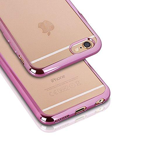 "CLEAR CASE für Apple iPhone 6 4,7"" Apple iPhone 6S Hülle Etui Flip Cover Bumper Silikon Tasche Back Case Transparent (silber) pink"