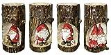 Advent Kerzenhalter Santa im Baumstumpf 4x Adventskranz Teelichthalter