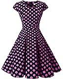 Homrain Damen 50er Vintage Retro Kleid Party Rockabilly Cocktail Abendkleider Black Pink Big Dot XS