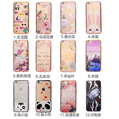 iPhone 6 Plus/6s Plus Coque Transparente TPU Gel Souple Ultra Slim Electroplate Frame Incassable avec Impression Sunroyal® Coque iPhone 6 Plus Coque iPhone 6s Plus (5.5 pouces) Etui Housse Silicone Ca Pattern 12