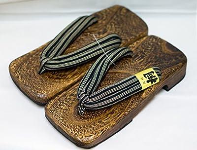 [Japón Hecho] para hombre Geta Paulownia sandalias de madera tradicional de calzado Shima Diseño Talla M