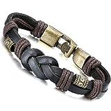 Jstyle Joyería Los hombres de cuero pulsera de cuerda pulsera de cuero trenzado de 21,5 cm