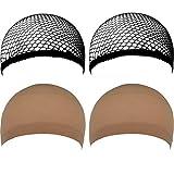 LUBITY 4 PCS Casquettes de Perruque Filet de Cheveux de Chapeau de Perruque de Maille...