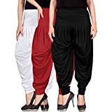 Fashion And Freedom Women's Combo Pack of 3 White, Red And Black Lycra Comfort Dhoti Pants