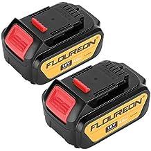 FLOUREON Dewalt 18V 4000mAh de iones de litio batería de repuesto para taladro inalámbrico herramientas eléctricas Dewalt DCB182DCB181DCB200DCD780DCD785DCD795DCF885DCF895Compatible con DEWALT 20V Max herramientas (1pack), 20.0 voltsV